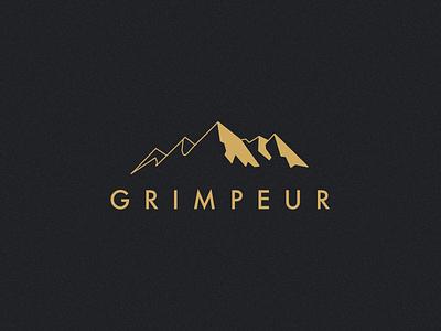 Grimpeur logo dark gold minimal mountains cycling branding logo