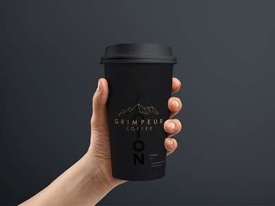 Coffee cup branding mountains cycling gold black branding cup coffee