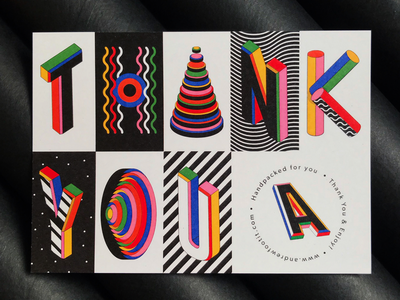 Thank You Card 3d abstract pattern illustration typographic typography branding