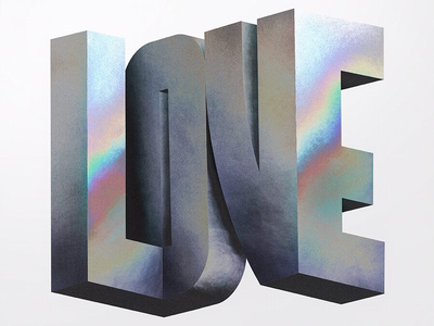 Love foil metal pearlescent 3d typography