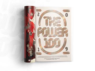 Billboard Magazine - Power 100 illustration monoline billboard music metal gold editorial magazine typography