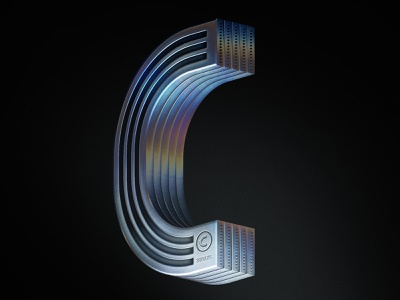 36 DaysOfType | C irridescent metal tech illustrator photoshop typogaphy