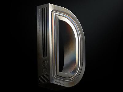 36 DaysOfType | D andrewfootit 36daysoftype iridescent titanium metal typogaphy