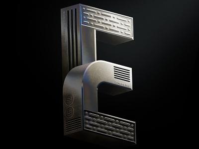 36 DaysOfType | E illustrator photoshop iridescent tech metal 36daysoftype typography