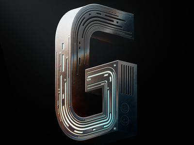 36 Days of type - G photoshop vector tech andrewfootit metal typography 36daysoftype