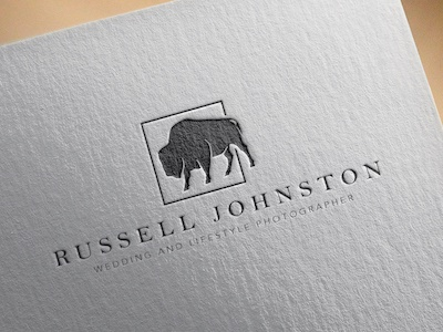 Russell Johnston Photography - Rejected Logo photographer logo animal classy high-end bison black and white branding photography