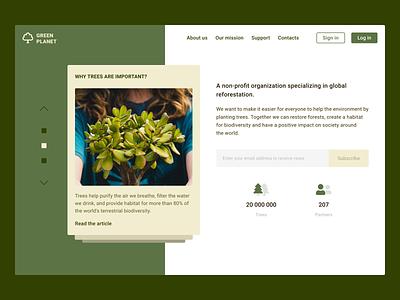 Restore the planet landing planet green forest design branding minimal ux ui