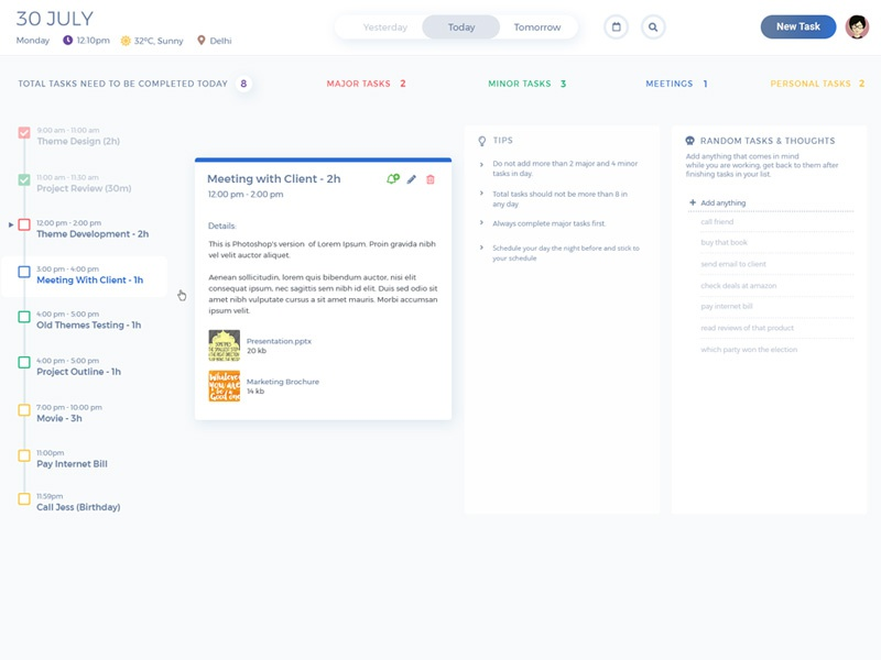 schedule task list to do list productivity tool by komal