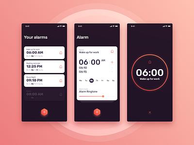 Alarm App design morning time snooze settings mobile alarm concept ux ui app