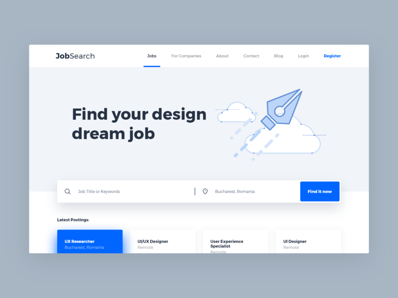 Job Search Page xd work dream research designer design offers find illustration page home job ui ux search career
