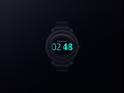 Watch Face smart wearable interface ui hand app date hour modern dark futuristic product xd madewithadobexd skeuomorphic time wrist clock face watch