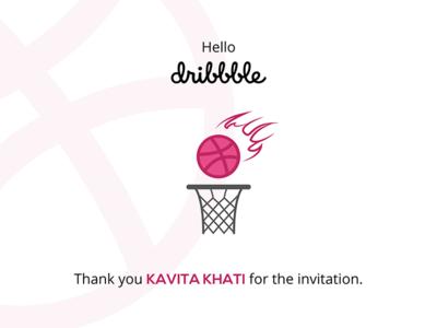 Hello Dribbble! graphic dribbble thankyou invite