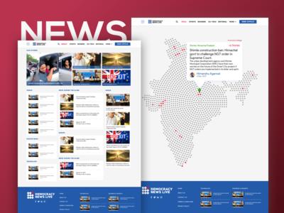 Democracy News Live Website UI responsive web design website ux ui news