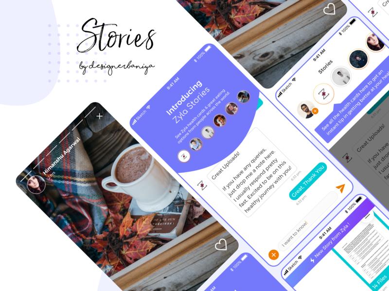 Zyla Stories android app illustration typography design dribbble responsive ui  ux ui uiux application mobile app