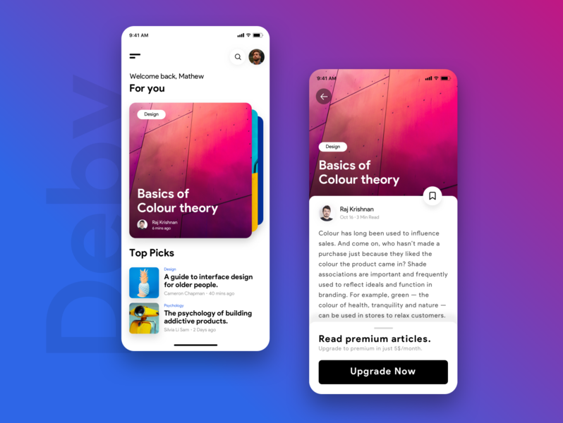 Deby | A focussed reading app in flutter cards ui carousel app colour personalised stories articles ios ux ui design dribbble uiux
