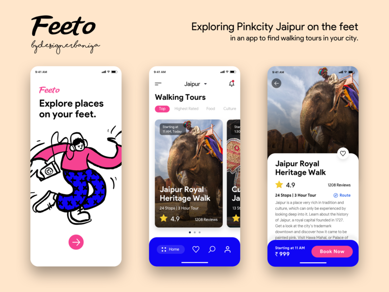 Feeto | Explore walking tours | Exploring Pink City Jaipur app ios responsive ux application ui uiux dribbble design