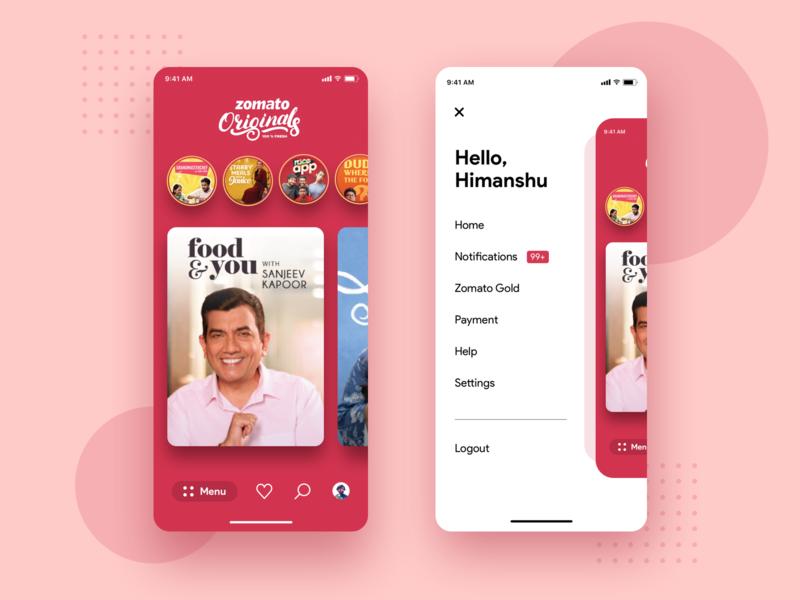 Zomato Originals Concept Design ios app iphone11 notifications menu stories carousel sanjeev kapoor netflix food zomato ios application ui uiux dribbble design