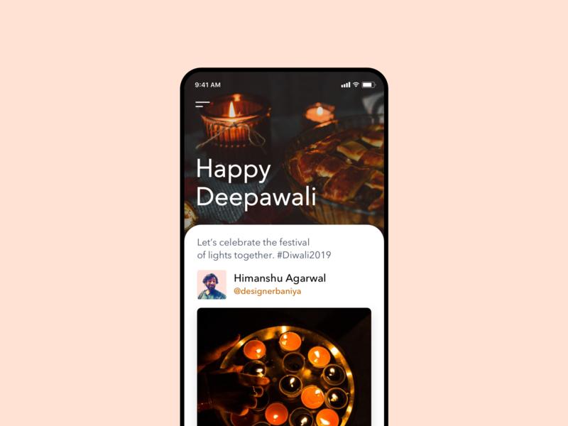 Happy Deepawali media social app carousel diwali ux ios application ui dribbble uiux design