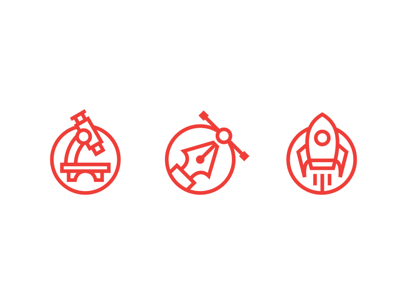 Research. Create. Start off monoweight illustration vector icon set icons