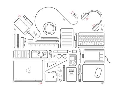 Stuff field notes headphones wacom iphone leica macbook desktop icons icon simple monoweight illustration