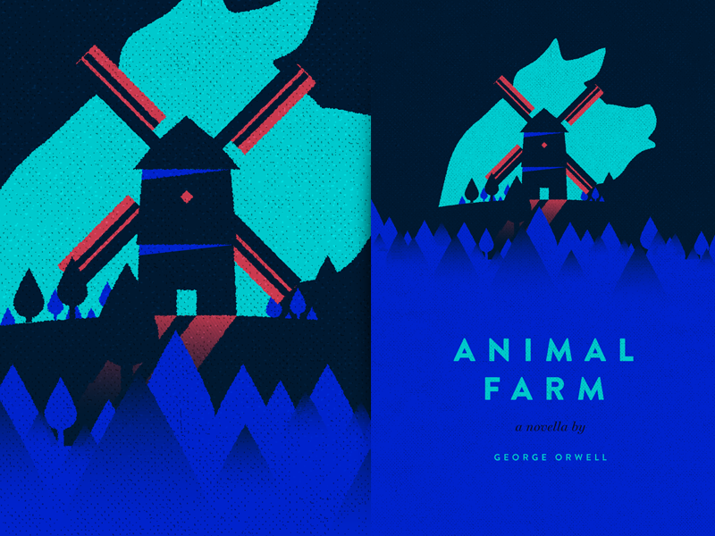 Animal Farm windmill pig george orwell animal farm book cover illustration