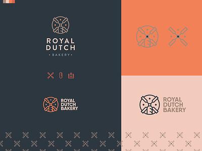 Royal Dutch Bakery no.1 windmill baguette bakery illustartion logotype logo