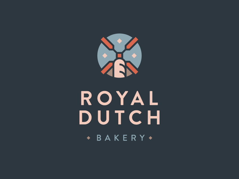 Royal Dutch Bakery no.1 windmill baguette bakery illustartion logotype logo
