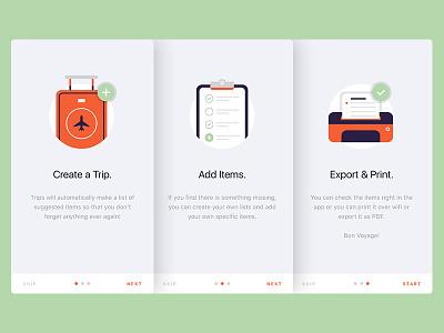 Travel App Walkthrough suitcase travel ios app icons illustration onboard walkthrough