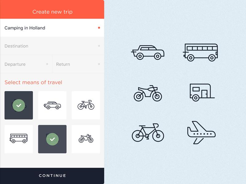 Travel App Icons plane car bus bike travel ios app icons illustration onboard walkthrough