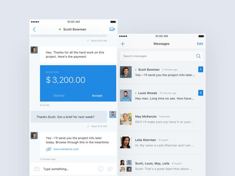 Messaging/Money Transaction ui ios app transaction money message