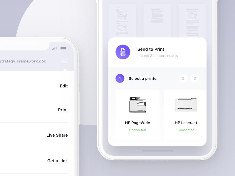 Send To Print ux ui ios sketch app iphone x print document