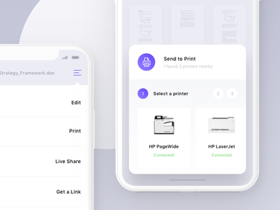 Send To Print ux ui ios sketch app iphone x print document