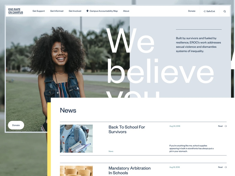 EROC – Website Style #2 web layout website nonprofit non-profit ui