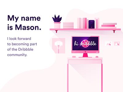Hello Dribbble. el hage alexandre mason desk plant debut pink room bedroom imac flat web vector ui design illustration