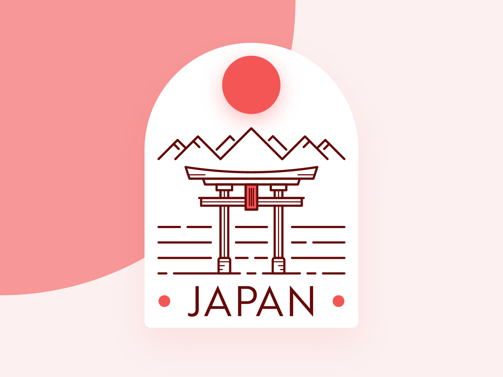 Visit Japan. red rising sun badge design line uid illustration japan badge