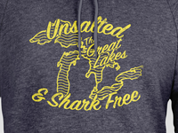 Unsalted and Shark Free tourist shop hoodie