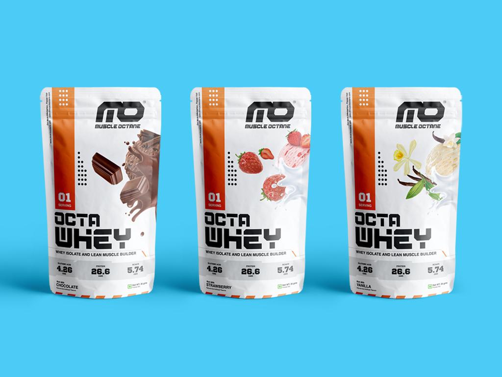 Octa Whey Flavours shake protein sample sachet packagedesign gym health body building identity sports fitness branding design logo