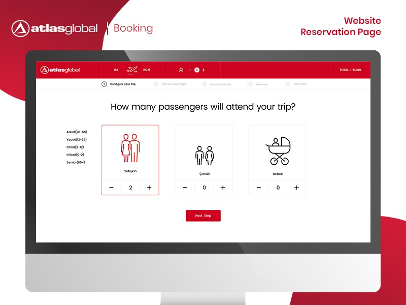 Atlasglobal Booking Shot ux ui art user interface design concepts web design airlines booking page booking website layout design ui ux interaction design