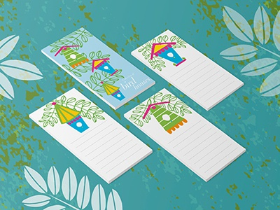 Notepads with bird houses