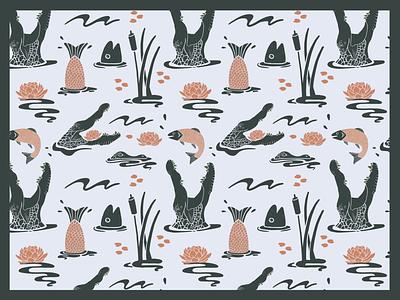 Swampy Flow animals illustrated animals swamp alligator drawing procreate app wallpaper repeat pattern flowers illustration illustration digital graphic design design
