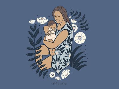 Anna y Hazel illustration design family portrait family baby mama motherhood pattern procreate app art drawing nature flowers illustration digital illustration graphic design design