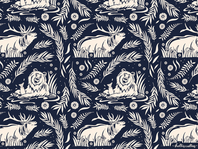 Greetings from Wilson, WY nature art forest elk bear repeat patterns surface design repeat pattern animals procreate app pattern drawing nature flowers illustration digital illustration graphic design design