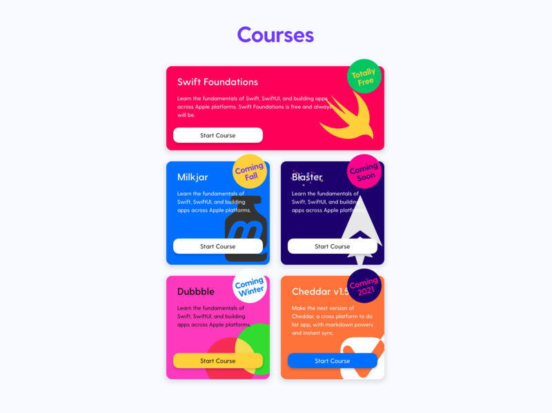 Course Cards courses blog ghost theme branding redesign
