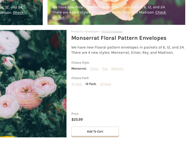 Kitfox Paper, Product Detail flowers stationary e-commerce store product