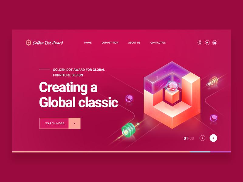 Golden Dot Award Landing Page redhead vector logo design red web design 应用界面设计 ui