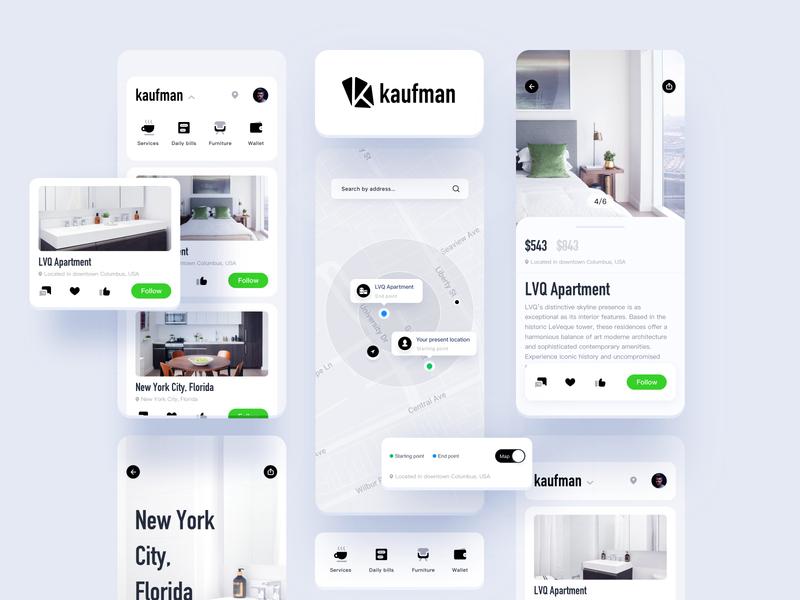 kaufman Apartment rental products green kaufman app natural 设计 ui
