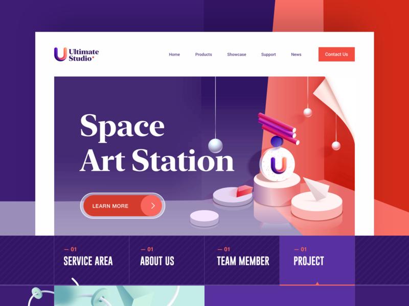 Ultimate Studio purple 3d abstract element studio ghibli branding uiux illustration web design 应用界面设计 ui
