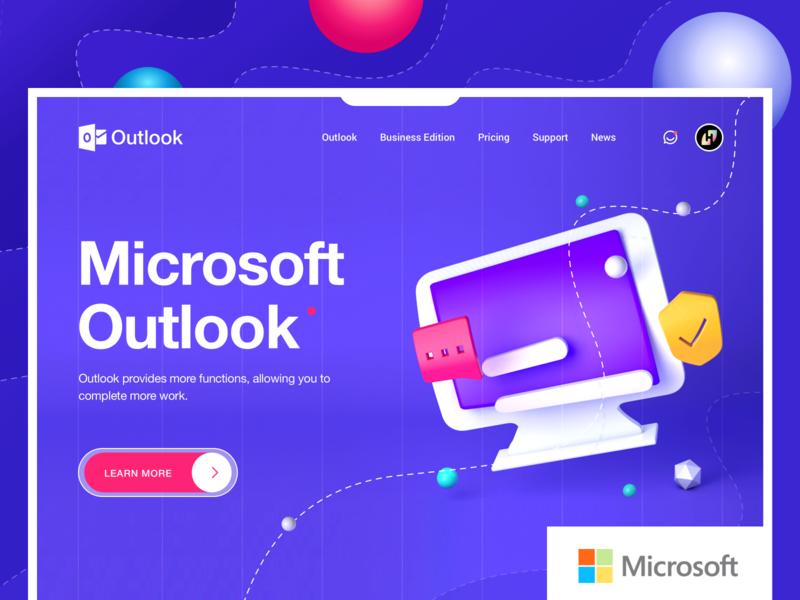 Microsoft Outlook Landing page design design uiux illustration web design ui 应用界面设计 outlook
