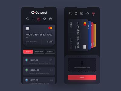 Outcard Bank Card Management Program Design ui uiux 应用界面设计 app