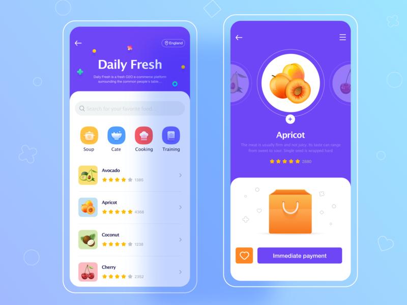 Daily Fresh UI fruits app uiux 应用界面设计 illustration web design ui